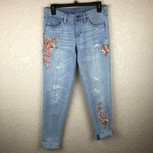 The Girlfriend denim jean with floral embroidery
